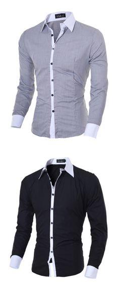 XTX Mens Simple Curved Hem Velvet Long Sleeve Lapel Neck Button Down Shirts