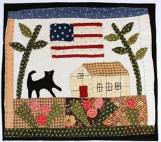 Miniature hand appliqued quilt made from antique by SandyMalamed, $225.00