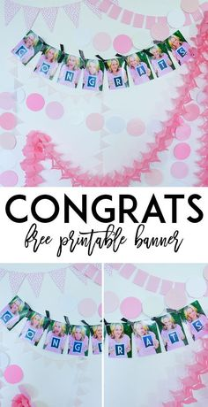 Photo Garland and Free Printable Congratulation Banner by Lindi Haws of Love The Day Photo Garland, Diy Garland, Garlands, Free Printable Banner, Gift Tags Printable, Party Printables, Free Printables, Congratulations Banner, Unique Baby Shower Themes