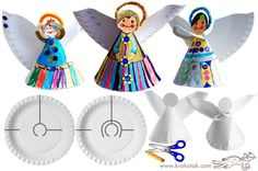 PAPER PLATE ANGELS | Christmas angels made of paper plates and pipe-cleaners. More ideas ...