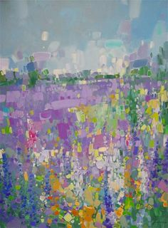 "Daily Paintworks - ""Lavenders, Abstract original oil painting, Large size, One of a kind"" - Original Fine Art for Sale - © V Yeremyan"