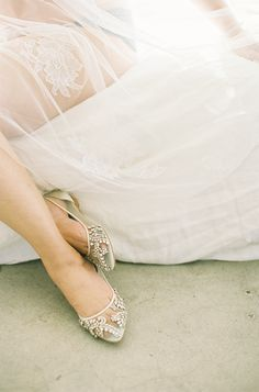 - Willow - 'Enchanted' bridal collection - Romantic crystal beaded flats - Hand-beaded with milky teardrop rhinestones and beads - Soft and comfortable modern glass slippers - Silk piped - Almond toe