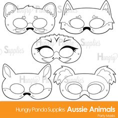 Color and create your own unique Australian animal costume mask! This listing is for (5) printable black and white Australian Animal mask