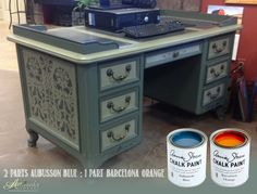 Check out this #mixitmonday color! We used only two colors to make the darker green on this desk - 2 parts Aubusson Blue : 1 part Barcelona Orange. #ChalkPaint® colors can make a myriad of hues and colors by mixing and experimenting. Other colors used in the creation of this desk include French Linen (lighter green areas) with a wash of the Aubusson/Barcelona mix over it and Graphite for the stencil. Happy Mixing!