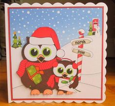 Card Gallery - 8 x 8 Christmas Little Hoot Owls Scalloped Corner Topper