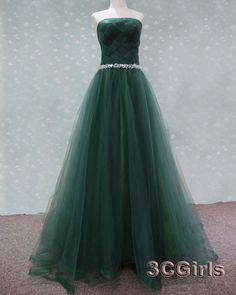 2016 Green tulle strapless long formal prom dress, sweetheart dress for teens, beaded long bridesmaid dress from #3cgirls #weddings -> http://www.3cgirls.com/#!product/prd1/4225799161/2016-green-tulle-strapless-long-formal-prom-dress