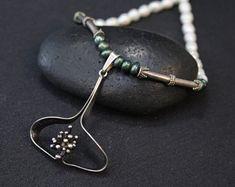 Sterling Silver Erik Granit Scandinavian Necklace, Sterling Silver Finland Necklace, Finland Jewelry, Modernist Sterling Silver Necklace