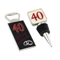 40TH RUBY  ANNIVERSARY BOTTLE STOPPER/OPENER GIFT SET AMORE BY JULIANA