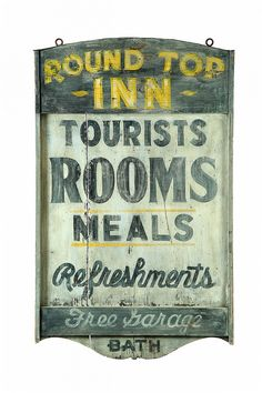 Round Top Inn ADVERTISING SIGN. -