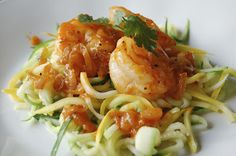 Sriracha Shrimp with Zoodles - zucchini noodles recipes to use with my veggie spiral maker