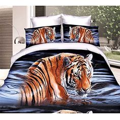 ZMJ 3d Oil Painting Bedding Sets Queen Size 4 Pcs Animal Print 3d Bedding Set Oil Painting Duvet Cover Luxury Bedding Set Cotton Twill-3d BeddingQuilt Duvet Cover Bed Sheet-tiger on Water(J-BS66) ZMJ Unique Bedding
