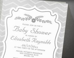 Black And White Stripes Baby Shower Invitation