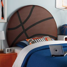 Perfect for your little athlete, the Powell Upholstered Basketball Twin Headboard is an eye-catching centerpiece for your childs bedroom. The headboard has a large Brown and White PU basketball design White Upholstered Headboard, Bed Frame And Headboard, Headboards For Beds, Bed Frames, Headboard Ideas, Basketball Bedroom, Baylor Basketball, Basketball Clipart, Basketball Drawings