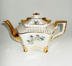 Vintage Arthur Wood Teapot England Dogwood Gold by NanNasThings