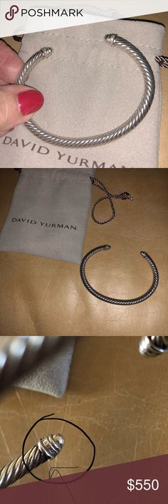 David Yurman Bracelet & Ring Bracket with diamonds in the tips, Ring size 7 smoky brown color with diamonds ( not sure of exact stone color ). Purchased both together at Lee Micheals. Retail & my cost over $1,400 both pieces are being sold together. If you want to purchase separately Bracelet $325 and Ring $ $225  If purchased together Posh will Authenticate. I have pictures with the DY stamp included. I only have the DY bag for the bracelet. David Yurman Jewelry Bracelets