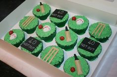 40 not out, cricket cupcakes for men by www.facebook.com/cakeinspirations