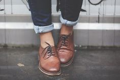 rolled jeans + tie shoes