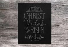 He is Risen Square Easter Chalkboard Art Printable by JKayeStudio