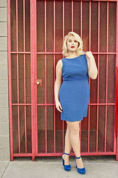 Love the red door with the blue dress.