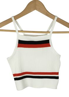 mellanie strap knit crop top (white)