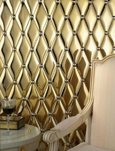 Harlequin pillowed tiles from Adex. walls- at least one Tile Patterns, Textures Patterns, Wall Paint Treatments, Versace Tiles, Imperial Tile, Gold Pillows, Bling, Tile Design, Ceramic Design