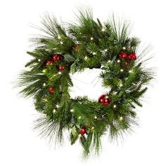 Improvements Cordless Jingle Bell Christmas Wreath (73 BRL) ❤ liked on Polyvore featuring home, home decor, holiday decorations, christmas, xmas, christmas decor, christmas greenery, garland, hanging basket and outdoor christmas