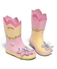 Look what I found on #zulily! Pastel Yellow Lotus Rain Boot by Kidorable #zulilyfinds