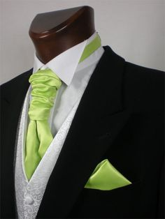 Green tie and matching handkerchief