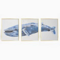 Bring nautical and beach vibes to your home with this blue whale triptych digital print. This hand painted whale is the perfect addition to any home, nursery or office.