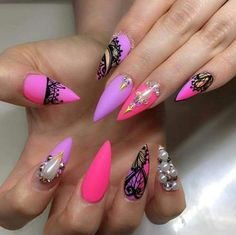 Pink and Purple Nail Art Design