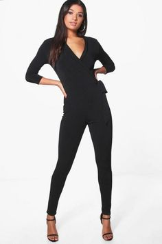 7bbb8301cf0a Boohoo Nicole Wrap Front Jumpsuit Black Size 10 LS078 AA 17  fashion   clothing