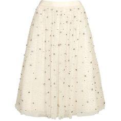 Womens Midi Skirts Alice + Olivia Catrina Ivory Embellished Tulle Midi... (£660) ❤ liked on Polyvore featuring skirts, bottoms, white skirt, calf length skirts, tulle midi skirt, white midi skirt and ruched midi skirt