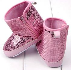 Baby Girl Pink Sequin Bling Soft Sole Booties Shoes Fit 6-12 Months