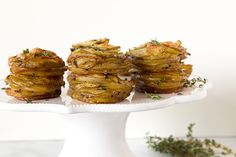 Parmesan Potato Stacks, a simple side dish made of layered yukon gold potatoes with a bit of parmesan cheese and fresh thyme leaves. Parmesan Potato Stacks Recipe, Gold Potato Recipes, Parmesan Potatoes, Potato Dishes, Vegetable Sides, Side Dishes Easy, Vegetable Side Dishes, Vegetable Recipes, Paleo Recipes