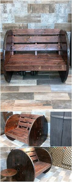 Astounding DIY Wood Pallet Recreation Ideas: Do you have a wood pallet furniture in your house? Did you ever get the feeling impression that this wood pallet is giving you out the feel. Pallet Bench, Wood Pallet Furniture, Steel Furniture, Recycled Furniture, Wood Pallets, 1001 Pallets, Out Of The Woods, Wood Steel, Woodworking Guide