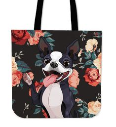 Boston Terrier Trick Linen Tote Bag