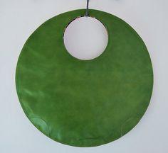 Large leather tote clutch circle handbag