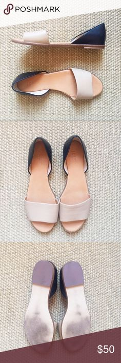 J.Crew • Flats J. Crew Flats. Open toe. Soft leather tan band across front and black leather back. Size 8.5. Small scratch at front of one shoe but not noticeable. In like new condition - Worn one time. J. Crew Shoes Flats & Loafers