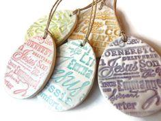 Easter Egg Ceramic Decoration, Handmade Textured Religious Ceramic Easter Egg Ornament, Pottery Decoration, Names for Christ, Jesus, Messiah...