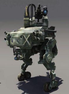 コンバット・ドロイド。アーティストであるlong ouyang氏がインターネットに発表しているイラスト。設定によると遠隔操縦が可能とのことで機関銃とセンサーポッド及び発煙弾発射筒らしきものが搭載されている。