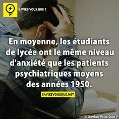 En moyenne, les étudiants de lycée ont le même niveau d'anxiété que les patients psychiatriques moyens des années 1950. | Saviez Vous Que?