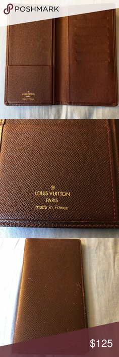 Louis Vuitton Checkbook wallet Selling my Dark wine/mulberry 100% AUTHENTIC Louis Vuitton checkbook wallet. Wallet is in good used condition. Very slight ware/sticky on inside slots but has so much life left! Mark on the front under LV as shown in pics. Open to offers, just use the offer button!! Louis Vuitton Bags Wallets