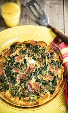 Sweet Potato Spinach and Bacon Quiche - A recipe with a sweet potato crust filled with eggs, bacon, and plenty of vegetables. #Paleo