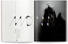 "The name ""Madonna""  in this image can be described as a display typeface. It is unsuitable for body copy but it draws attention to the headline of the magazine spread. The words evoke fashion,drama, edginess, art and trendiness. The words tie into the photo creating an overall  riveting effect.   http://courses.washington.edu/art166/documents/Spring2010/DisplayTypography.pdf"