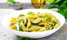 Paste cu dovlecei si sos verde   LaTAIFAS Pasta Al Pesto, Pesto Sauce, Penne Pasta, Pasta Salad, Salad Sauce, Green Peas, Jamie Oliver, Italian Recipes, Basil
