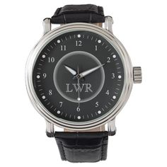 Shop Men's Black and White Monogram Watch created by coolcustomwatches. Personalize it with photos & text or purchase as is! Vintage Watches For Men, Vintage Men, Vintage Black, Classic Leather, Vintage Leather, Black Leather, Framed Initials, Monogram Initials, Mens Monogram