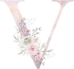 Watercolor Lettering, Watercolor Design, Hand Lettering, Flower Alphabet, Flower Letters, Alphabet Design, Monogram Alphabet, Flower Background Wallpaper, Flower Backgrounds