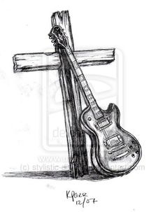 guitar and cross by ~stylistic-division on deviantART For my dad it needs to be a Martin