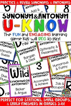 Students love playing U-Know games for fun REVIEW of synonyms and antonyms or for test prep. It's a perfect activity for any small group or station, and great for early finishers. Synonym and Antonym U-Know is a fun learning game played similar to UNO except if you get an answer wrong, you have to draw two! Students will beg to practice synonyms and antonyms, as well as, vocabulary in this way! Available in MANY other topics, too!