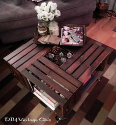 Very cool coffee table made out of wine crates all for Vintage wine crate coffee table